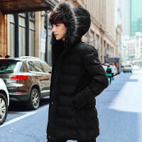 冬季新款外套修身连帽棉衣男中长款韩版加厚男士青年大毛领棉袄潮
