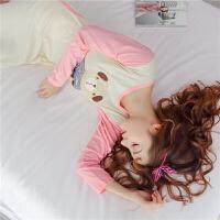 春夏全棉学生女大码睡衣秋季长袖公主睡裙纯棉孕妇连体少女家居服