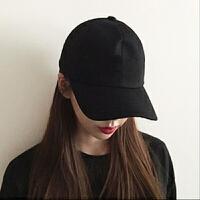 帽子男女士夏天纯色棒球帽女韩版四季款纯黑白色鸭舌帽防�鹫谘裘� 可调节