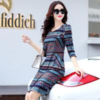 连衣裙秋冬款新款韩版修身显瘦中长款女士长袖气质打底裙春秋