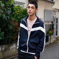 GXG男装 2018春季新品时尚潮流藏青色针织夹克外套男#181821137