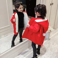 儿童红色冬季2018新款洋气绒款外套棉袄女孩圣诞服棉衣