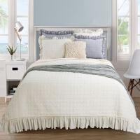 家纺亲肤棉纯色水洗绗缝被床盖三件套夹棉床单多用被 床罩空调被Y 230X250CM+15CM 48X74+5CM