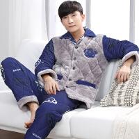 冬季大嘴情侣睡衣男士女士可爱猴加大码珊瑚绒夹棉保暖家居服套装