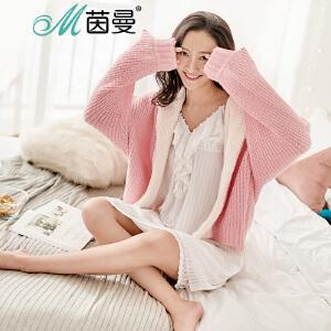 茵曼内衣舒适加厚舒适甜美糖果色家居服外套-短款 98744830448