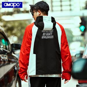 【限时抢购到手价:180元】AMAPO潮牌大码男装加肥加大码撞色秋装外套潮胖子插肩袖连帽夹克