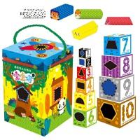 海润阳光.感知觉认知游戏 : 宝宝塔(10个积木盒+5个形状积木)触摸书 益智书 积木游戏书