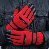 冬季户外加厚棉手套保暖骑车骑行防寒加绒男士手套全指运动手套