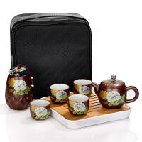 唐丰陶瓷便携旅行功夫茶具套装一壶四杯储水式干泡小茶盘整套简约
