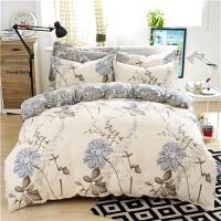 简约棉四件套 春夏棉床品套件1.5m1.8米床笠款床单被套4件套 浅灰色 似水流年