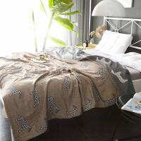 纱布毛巾被纯棉毛巾毯子夏季空调毯午睡毛毯单人双人薄款夏凉休闲 深咖色 星马-四层BH