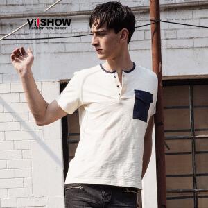 viishow夏装新款短袖t恤 欧美街头纯棉短袖男 口袋撞色白色t