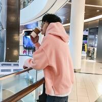 秋装bf风情侣连帽卫衣男加肥加大码百搭棒球服青少年韩版潮流外套 粉红色 S