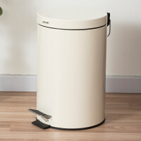 【满减】欧润哲 米白色圆形有盖静音垃圾桶脚踏 欧式创意家用卫生间酒店