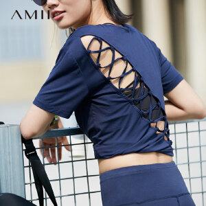 【五折再叠20元优惠券】Amii极简原宿风心机短袖圆领T恤2019夏春镂空运动瑜伽莫代尔上衣