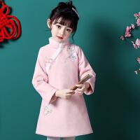 儿童旗袍秋冬季女宝宝中国风汉服毛呢冬长袖唐装公主裙拜年服