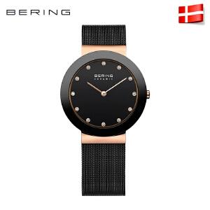 bering白令女手表水腕表钻石英表简约时尚防水陶瓷进口钢带11435