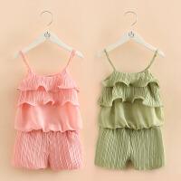 宝宝雪纺套装 夏装新款女童童装儿童吊带衫短裤两件套