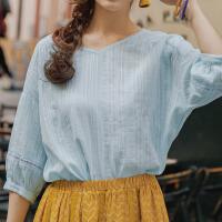 【199元3件】茵曼夏装新款V领净色纯棉宽松七分衬衣女衬衫【1882012033】
