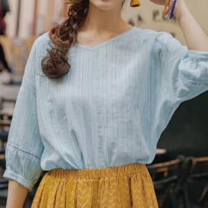 茵曼夏装新款V领净色纯棉宽松七分衬衣女衬衫【1882012033】