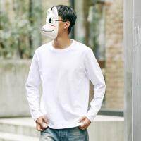日系男士长袖T恤 男女圆领纯色秋季衣服打底衫青年学生体恤男