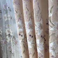 欧式窗帘雪尼尔简约现代绣花纱帘窗纱客厅卧室成品遮光窗帘