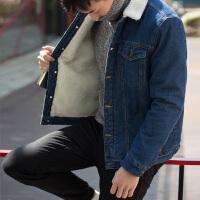 【2件3折191.1元】唐狮冬装新款外套 男羊羔绒可拆卸帽休闲牛仔外套