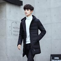 新款冬季男装羽绒服男中长款修身款韩版加厚青年羽绒纯色外套 黑色 M