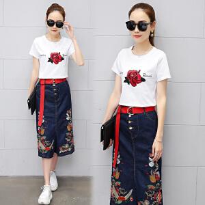 2018夏装新款女装套装裙时尚两件套连衣裙女韩版裙裤刺绣印花潮