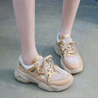 低帮系带学生增高厚底休闲运动鞋女透气网面老爹鞋女