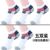 运动男袜子男士纯棉�|短袜青少年中筒薄款韩版短筒夏天12 短袜 5双白色脚跟灰