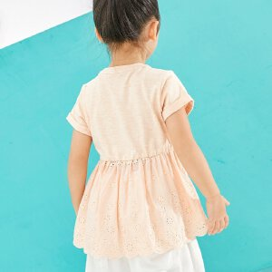 【下单立享5折】amii童装2017夏季新款女童纯色拼接T恤皱褶下摆个性镂空休闲上衣