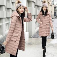2017新款冬装女装韩版收腰棉衣女中长款学生外套修身连帽棉袄 D8710粉红色