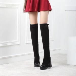 O'SHELL欧希尔新品133-X36欧美磨砂绒面粗跟高跟女士长筒靴