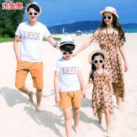 夏季沙滩亲子装母女吊带雪纺连衣裙全家装度假休闲服装