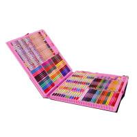儿童画画笔绘画套装小学生水彩笔学习文具美术用品女孩生日礼物盒 粉色258件塑盒套装 送画本+礼品袋