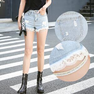 夏季韩版修身显瘦百搭学生学院风破洞蕾丝牛仔短裤女热裤潮
