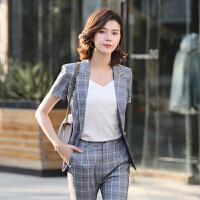 职业装格子小西装外套女夏季新款韩版休闲上衣英伦风短袖西服套装