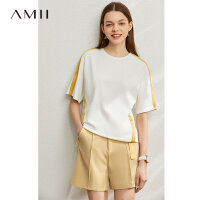 【到手价:84元】Amii极简运动风纯棉短袖T恤2020夏季新款撞色织带拼接宽松上衣女