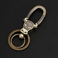 钥匙扣 汽车钥匙扣 牛头钥匙扣 男士钥匙扣 黄古铜钥匙扣钥匙圈 牛头钥匙扣