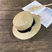 花儿与少年3古力娜扎同款平沿草帽麦秆遮阳帽子女夏季防晒沙滩帽 蝴蝶结 5cm帽檐 M(56-58cm)
