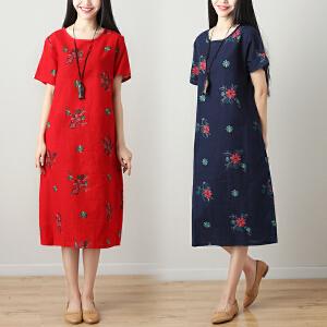 AGECENTRE 2018年夏季新款女装 棉麻复古印花短袖连衣裙
