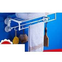 浴室挂毛巾架吸盘式免打孔毛巾挂钩卫生间吸盘毛巾挂架杆世帆家定制 长度选项一 40cm