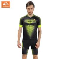 2017新款夏季自行车骑行服短袖套装男 高品质超透气单车服装 V17-03黄点短套装