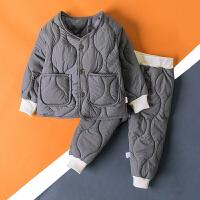 童装加棉套装秋冬装宝宝两件套婴儿棉袄棉衣潮