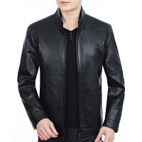 春秋季新款男装中年男士真皮皮衣夹克修身绵羊皮外套薄款 黑色 0码