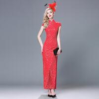 蕾丝亮片旗袍裙长款年会春秋女日常新款修身复古改良时尚中袖祺袍