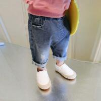 小童宽松牛仔裤子1-3岁男宝宝儿童夏季新款装小童婴儿童裤五分裤 蓝色