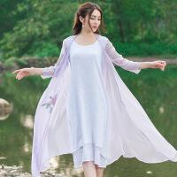 原创新款2018夏季女长袖防晒衫仿真丝绣花开衫民族风日常大码女装