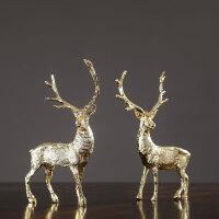 欧式纯铜麋鹿电视酒柜摆件客厅桌面创意轻奢玄关摆设工艺装饰礼品
